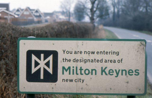 Road sign for Milton Keynes