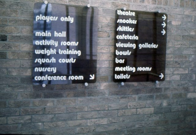 An indoor sign in Bletchley Leisure Centre