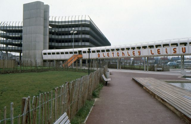 The multi-storey car park and walkway to Bletchley leisure centre