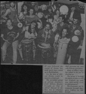 African Drummers at the New Inn Buckingham [newspaper cutting]