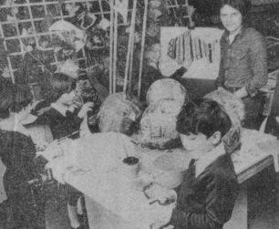 Pupils creating sea creatures for the Festival 1979