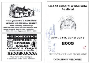 Front and back of Great Linford Festival programme 20th to 22nd June 2003