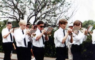 Bradwell Silver Band leading New Bradwell School Annual Carnival Parade.