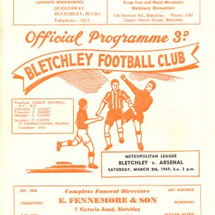 Bletchley v's Arsenal 1969