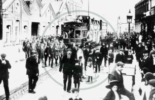 Wolverton Railway Works, workers and the tram, Wolverton