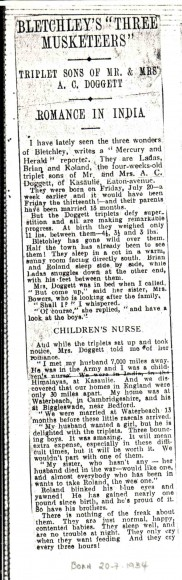 Newspaper clipping of the triplets