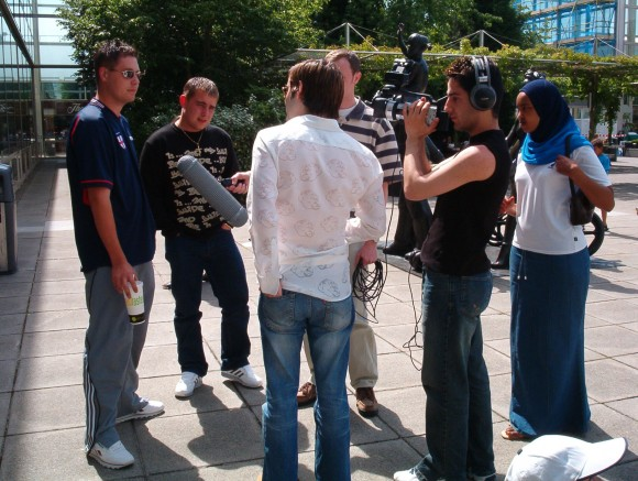 Young film-makers on location