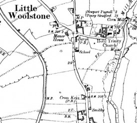 Map of Little Woolstone dating to 1900