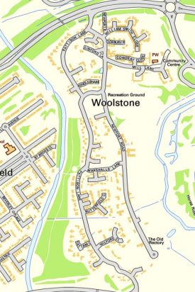 Map of modern day Woolstone