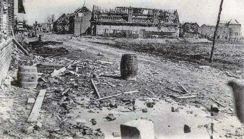 Street demolished in the town of Neuve Chapelle after the battle in 1915