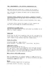 Discussion notes - Ray Bellchambers about source material for 'All Change'.