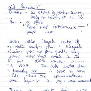 Ted Pankhurst notes - page 1.