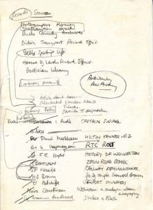 Draft list of sources and books.