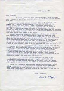 Letter from David Apps to Margaret Broadhurst outlining his research findings at  the British Library Newspaper Library (1976).