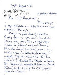 Letters from Viva Chappill to Margaret Broadhurst offering her reminiscences (1976).