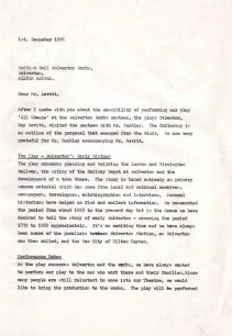 Letter from Margaret Broadhurst to Mr W.E. Levett outlining proposals to perform 'All Change' at the Wolverton Works (1976).