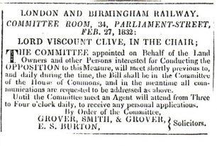 Northampton Mercury - Announcement of London Birmingham Railway meeting (1832).
