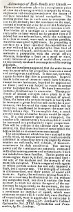 Northampton Mercury - Extract from Dr. Lardner's Cabinet Cyclopaedia. Vol. XVII on the advantages of railroads over canals (1832).