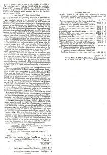 Northampton Mercury -  Circular from the London Birmingham Railway management  announcing their intention to re-apply after the Railway Bill's defeat in the Lords (1833).
