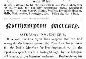 Northampton Mercury - An account of Lord Chandos' speech on the Poor law Amendment Bill (1834).