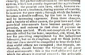 Northampton Mercury - Letter to the editor regarding the ineffectiveness of the Poor Laws from 'A. FARMER' (1830).