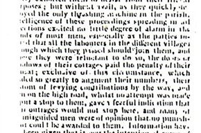 Northampton Mercury - Article about the Captain Swing Movement and the destruction of machinery (1830).