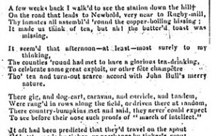 Northampton Herald - 'Lines' a poem about the effects of the railway on Rugby (1838).