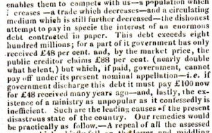 Birmingham Journal - Article about 'Causes of the National Distress, and its Remedies' (1829).