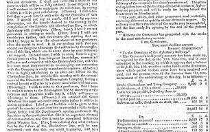 Newspaper - Report of an Aylesbury Railway Company general meeting (1838).
