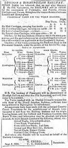 Newspaper -  Notice published by order of R. Creed and C.R. Moorson announcing the opening of the railway (1838).