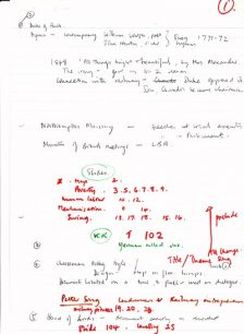 handwritten notes, a draft outline of sections of the script (1976).