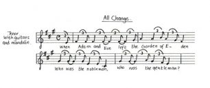 All Change title song 'All Change' music and lyrics (Act 1 - Sc.3).