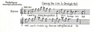 All Change 'Opening the Line to Denbigh Hall' music and lyrics (Act 1 - Sc.7).