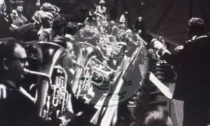 Photograph of New Bradwell Silver Band  taken during a performance of 'All Change' (1977).