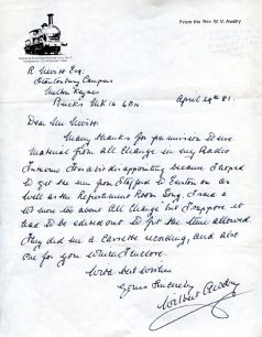 Letter from the Rev. W. Awdry to Roy Nevitt about 'All Change' material included in his radio interview (1981).