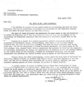 Letter from Tom McEwan to the Institution of Mechanical Engineers about locating a sculpture of James McConnell (1978).