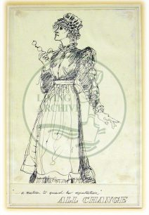 Character sketch by Eugene Fisk from 'All Change' dress rehearsal, titled '...a matron to guard her reputation' (1982).