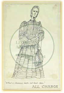 Character sketch of Queen Victoria by Eugene Fisk, titled 'What a charming little red brick town'  (1982).