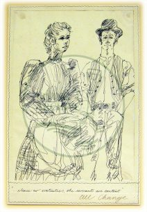Character sketch by Eugene Fisk, titled '...please no gratuities, the servants are content' (1982).
