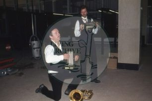 Photograph of Brad Bradstock and Bob Shakeshaft playing accordions at the 'All Change' rehearsal (1982).