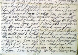 Photograph of passage from a letter from Albert French dated January 1916