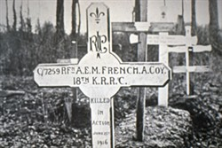 2 black and wite photographs of Albert French's grave