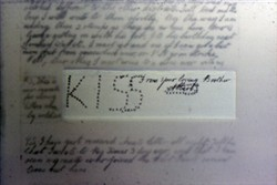 Photograph of extract from 'Kiss' letter from Albert French dated May 1916