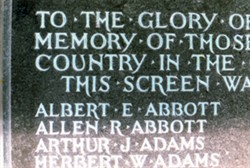 Photograph of list of casualties on a memorial