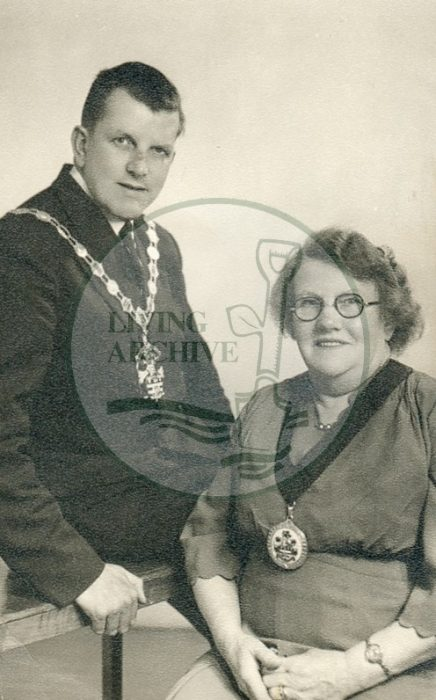 Mayor Ron Staniford and his mother as first lady. Photograph supplied by kind permission of BCHI (Accession Ref: BLE/P/1807).