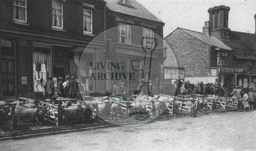 Thursday Cattle Market outside shops in Aylesbury St. Fenny Stratford c.1914. Illustrative photograph supplied by kind permission of BCHI (Accession Ref: BLE/P/075). Original donated by Mr. Sellers.
