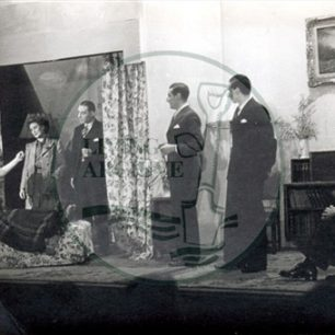 Bletchco Players in 'The Outsider' (Vi Clark lying on a sofa), 1940s. Illustrative photograph supplied by kind permission of BCHI (Accession Ref: BLE/P/858). Original donated by Mr Maycock.
