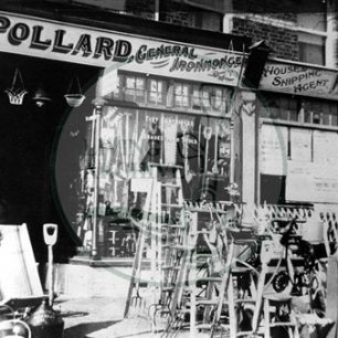 Pollards hardware shop, next to Hedley Clarkes in Bletchley Road. Illustrative photograph supplied by kind permission of BCHI (Accession Ref: BLE/P/985).