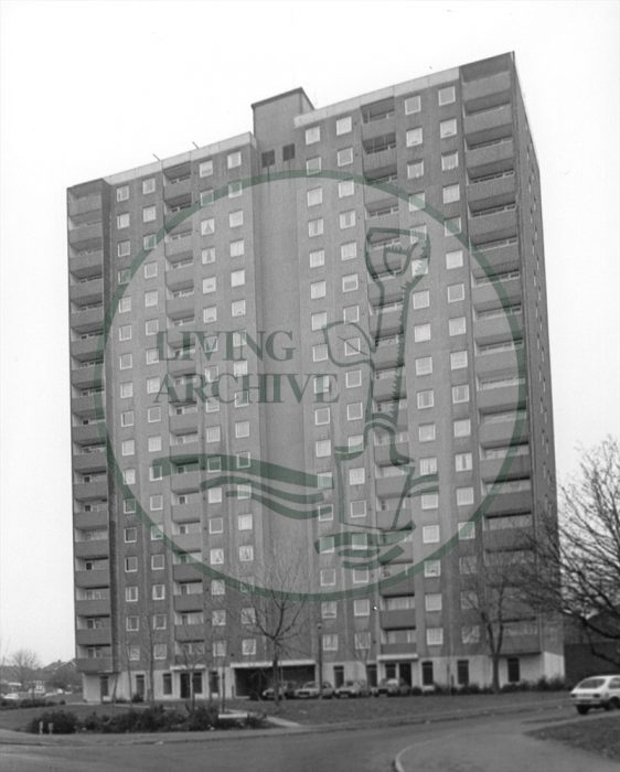 Melrose Flats, Mellish Court, Bletchley. Illustrative photograph supplied by kind permission of BCHI (Accession Ref: BLE/P/1587).