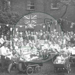 VE Day street party at Railway Terrace, Bletchley 1945. Illustrative photograph supplied by kind permission of BCHI (Accession Ref. BLEP/P/1174).